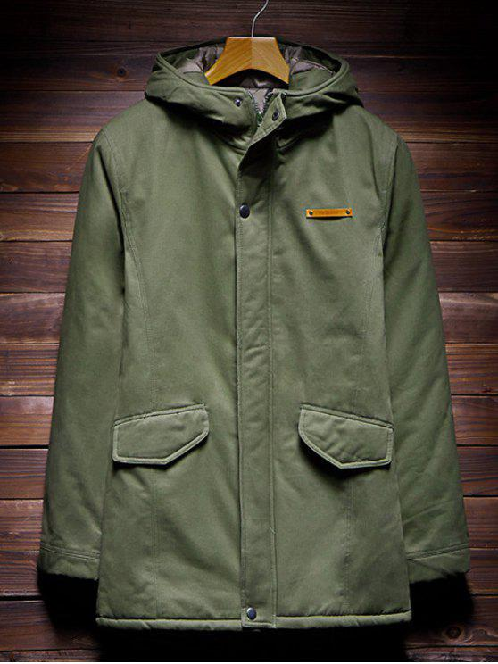 Zip Up coulisse Hem con cappuccio trapuntato cappotto - verde  2XL