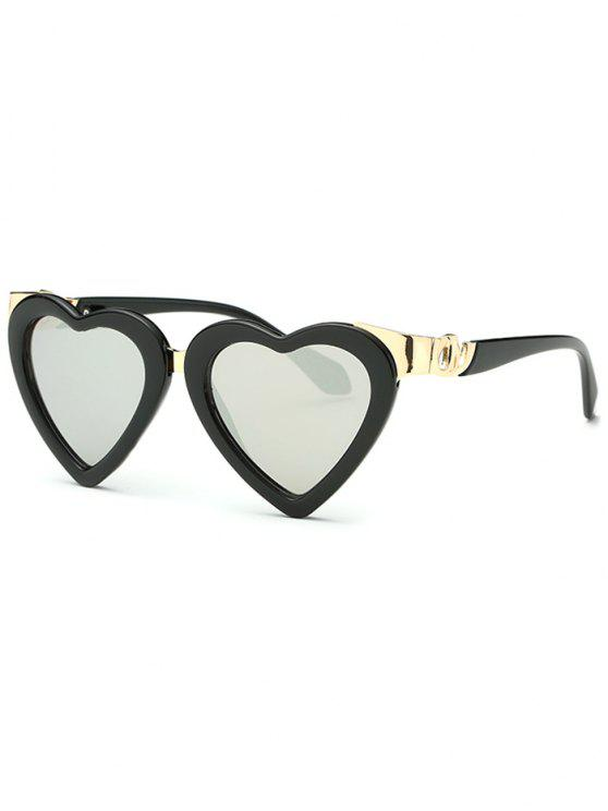 online Heart Mirrored Sunglasses - SILVER