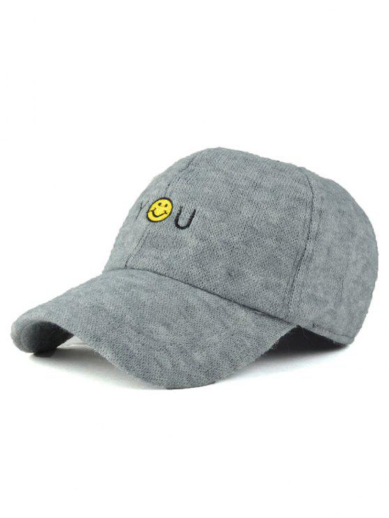 trendy Smile Face You Embroidery Knit Baseball Hat - LIGHT GRAY
