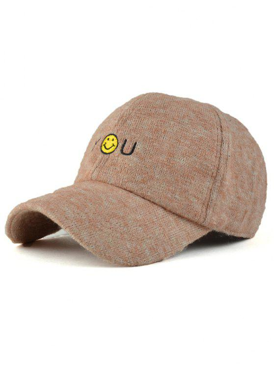 chic Smile Face You Embroidery Knit Baseball Hat - KHAKI
