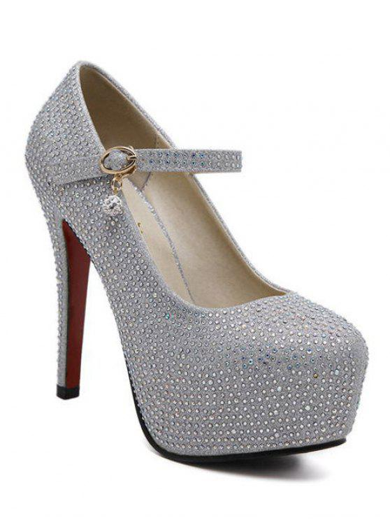Rhinestone-Plattform Stiletto Pumps - Silber 37