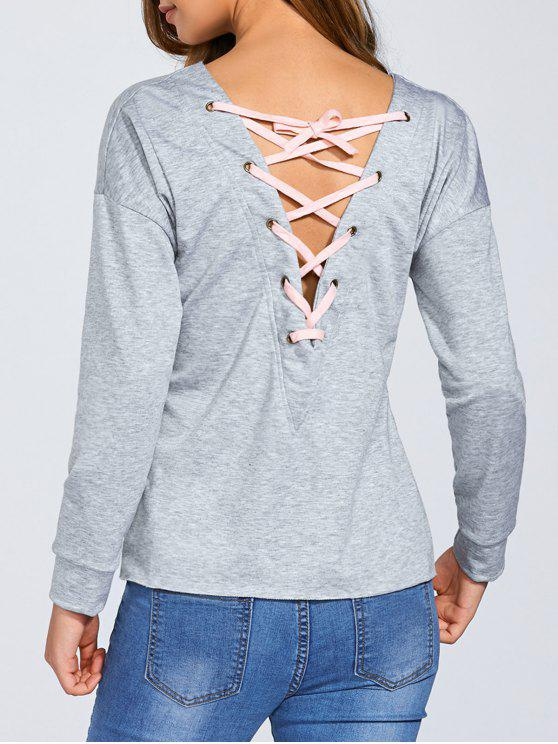 new Loose Lace-Up Sweatshirt - GRAY M