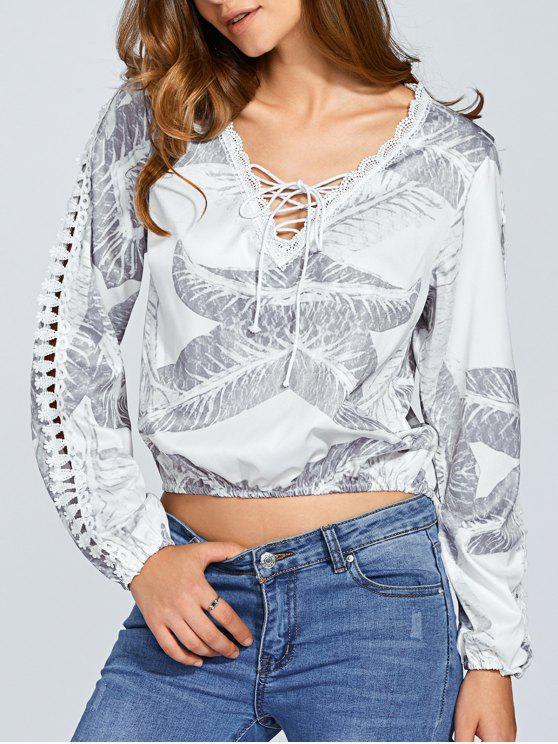 lady Long Sleeve Lace Up Crop Top - WHITE M