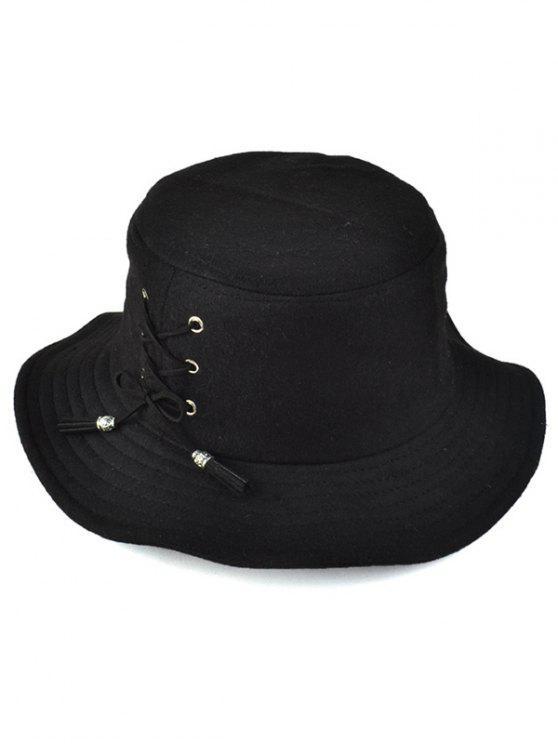women Tassel Lace-Up Felt Bucket Hat - BLACK