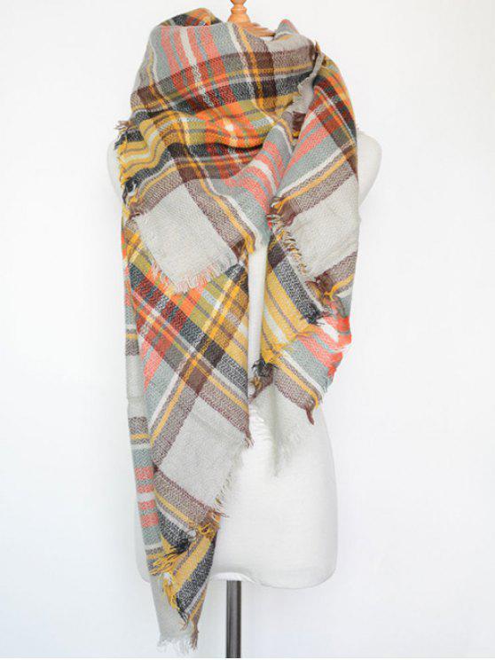 Écharpe à carreaux avec frange en série - Blanc