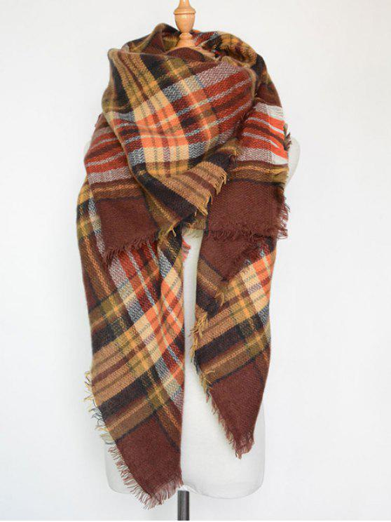 hot Plaid Series Fringed Scarf - COFFEE