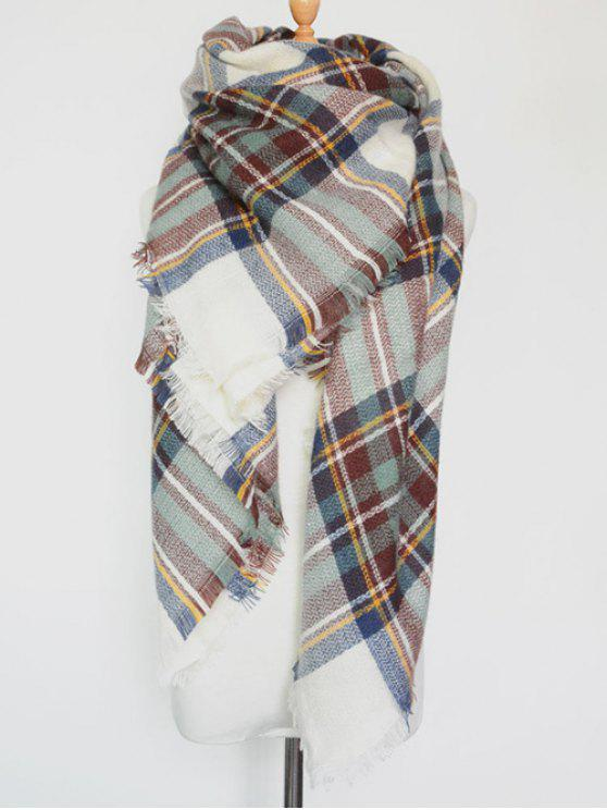 shop Plaid Series Fringed Scarf - LIGHT GREEN