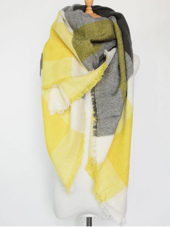 A cuadros con flecos bufanda de la serie - Amarillo