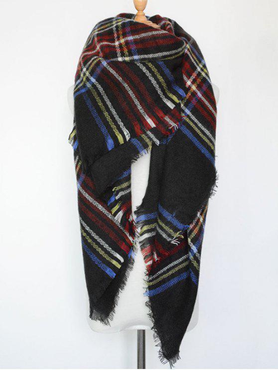 A cuadros con flecos bufanda de la serie - Negro