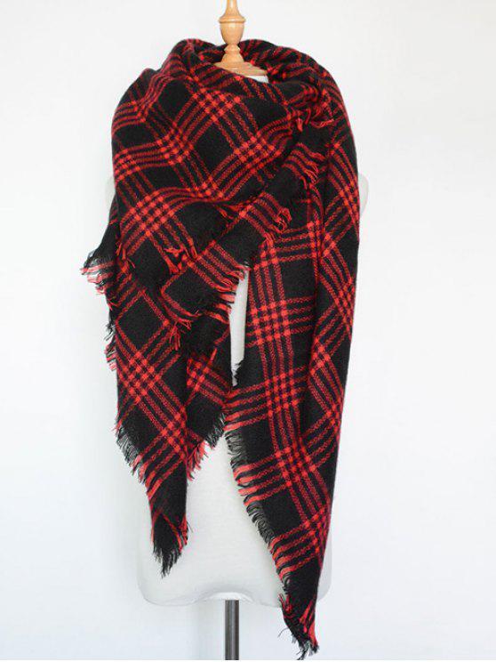 Écharpe à carreaux avec frange en série - Rouge
