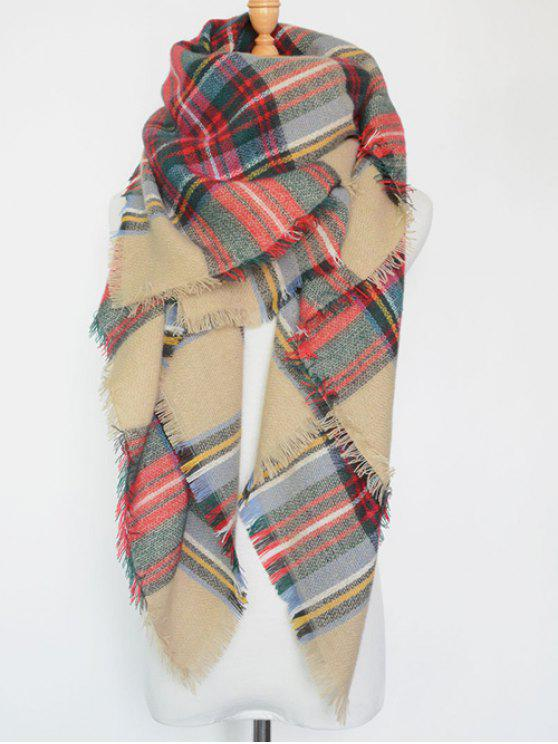 fashion Plaid Series Fringed Scarf - LIGHT KHAKI