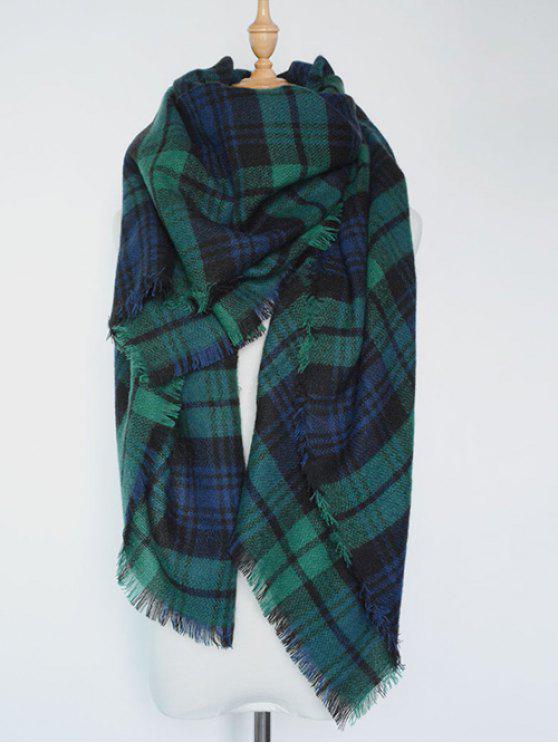 A cuadros con flecos bufanda de la serie - Verde negruzco