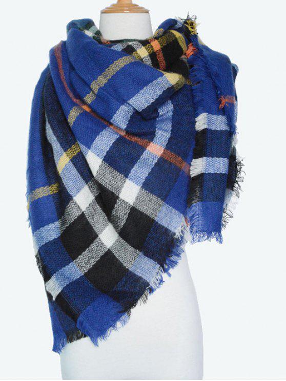 A cuadros con flecos bufanda de la serie - Azul