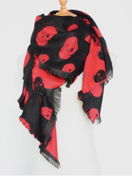 Borde con flecos cráneo bufanda del mantón - Rojo