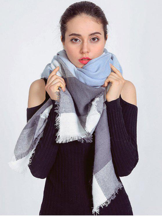A cuadros con flecos bufanda del otoño - Azul Claro
