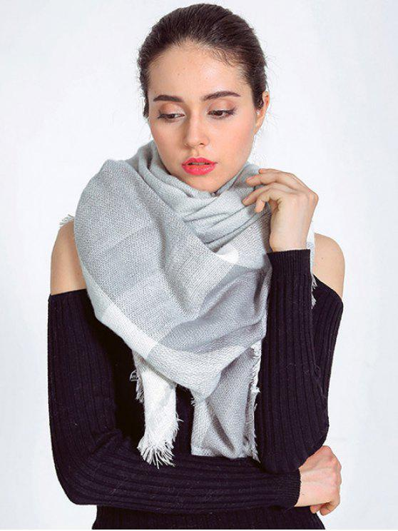outfit Plaid Fringed Autumn Scarf - LIGHT GRAY