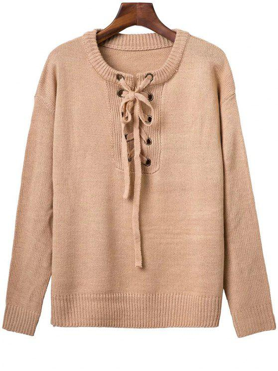 latest Solid Color Long Sleeve Lace Up Sweater - APRICOT ONE SIZE