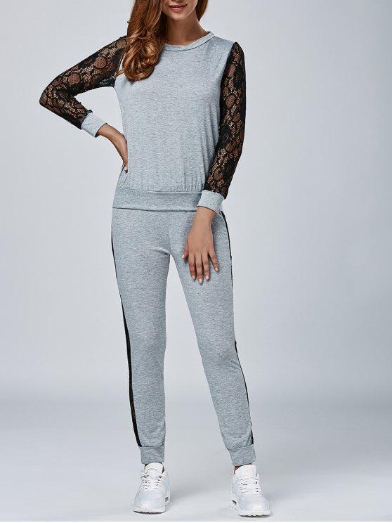 outfit Lace Panel Sweatshirt and Sweatpants - GRAY S