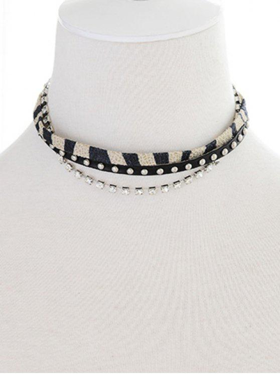 unique Faux Leather Rivets Rhinestone Choker - BLACK