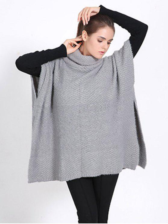 sale High Neck Sweater Cape Poncho - GRAY