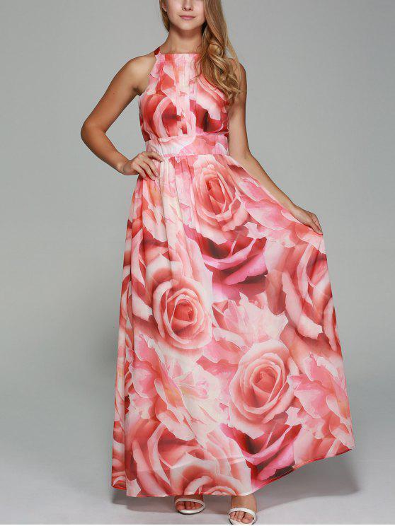 hot Flowers Print Round Neck Sleeveless Maxi Dress - RED M