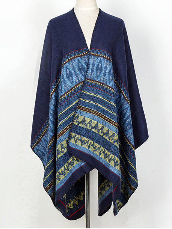 women Geometry Thicken Cape Pashmina - DEEP BLUE