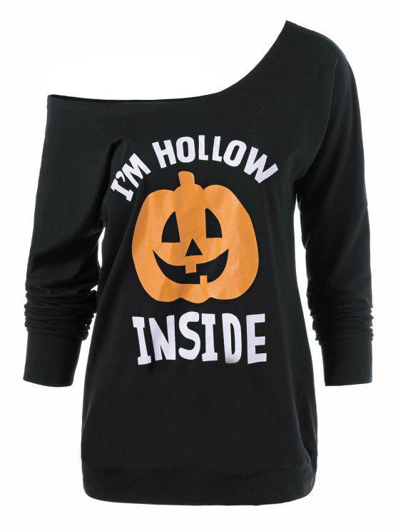 best Skew Neck Pumpkin Lamp Print Halloween T-Shirt - BLACK XL