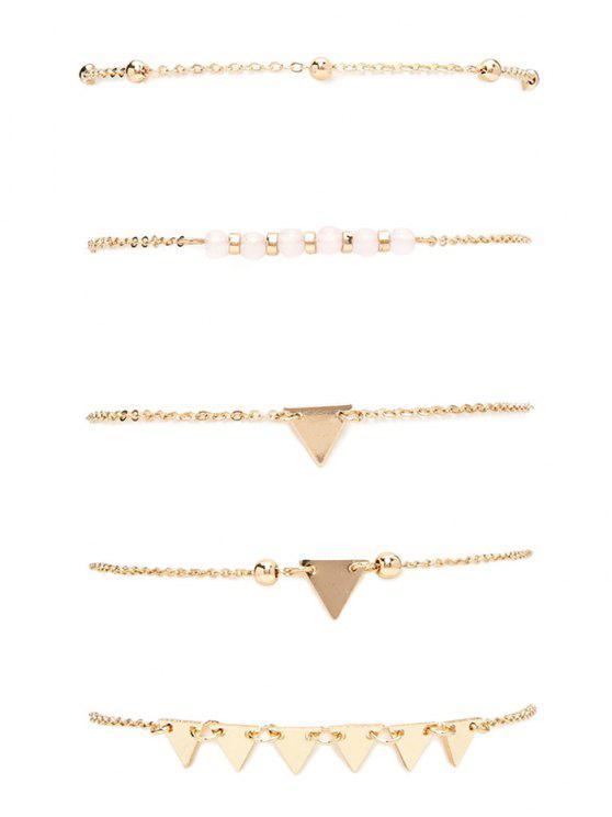 Granos de la aleación de la pulsera del triángulo - Dorado