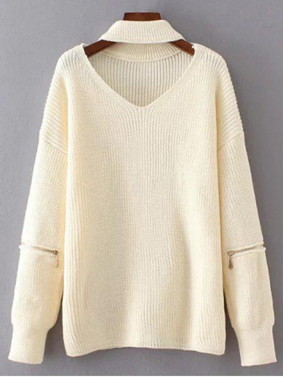 online V Neck Oversized Choker Sweater - WHITE ONE SIZE