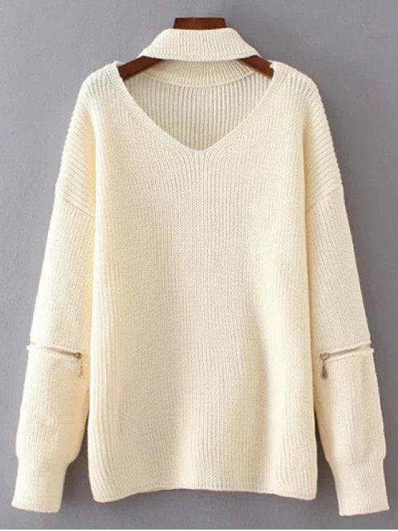 Übergröße Pullover mit V-Ausschnitt und Halsband - Weiß Eine Größe