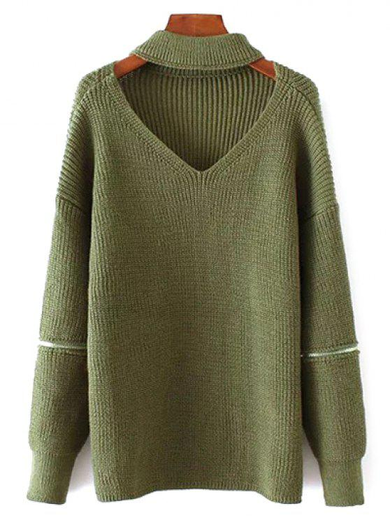 Übergröße Pullover mit V-Ausschnitt und Halsband - Grün Eine Größe