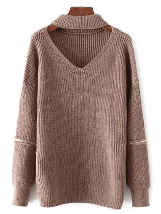 outfit V Neck Oversized Choker Sweater - COFFEE ONE SIZE