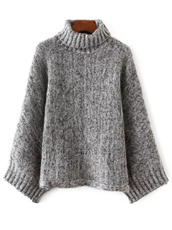 outfits Marled Oversized Dolman Sweater - BLACK AND GREY ONE SIZE