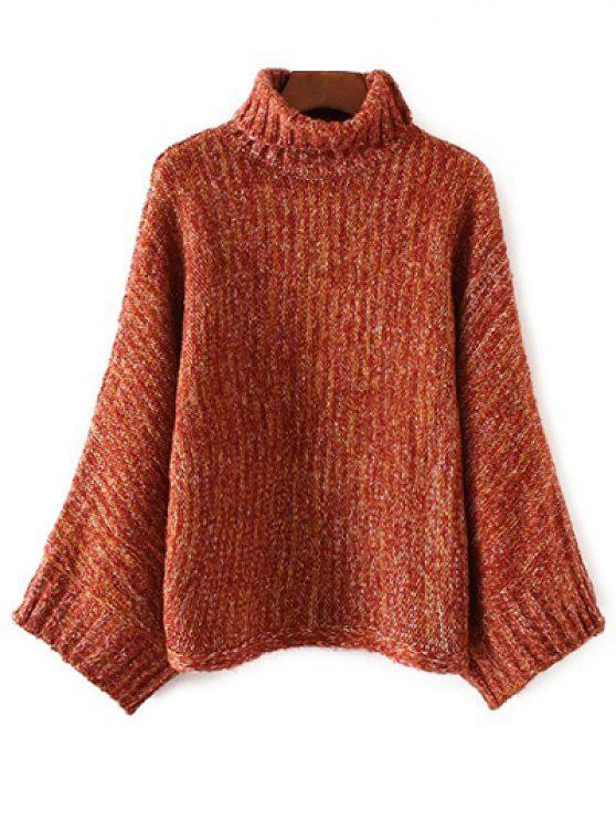 shop Marled Oversized Dolman Sweater - ORANGE + WHITE ONE SIZE