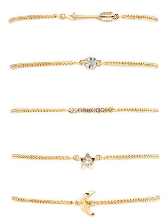 Strass Lune Flèche Pentagram Bracelet Set - Or