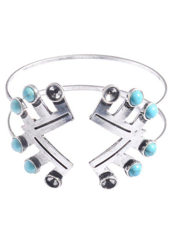 Faux Turquoise Geometric Bracelet - Plata