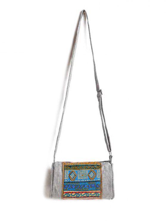 Ethnic Print dril de algodón del bolso de Crossbody - Colormix