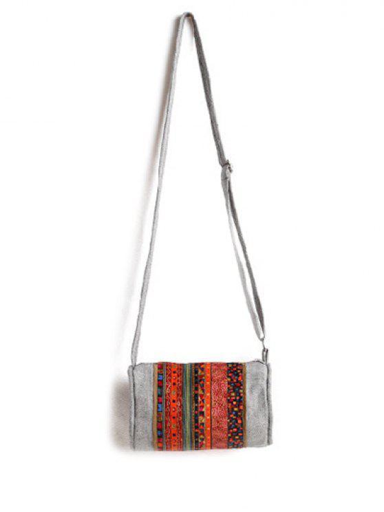 shops Ethnic Print Denim Crossbody Bag - ORANGE RED