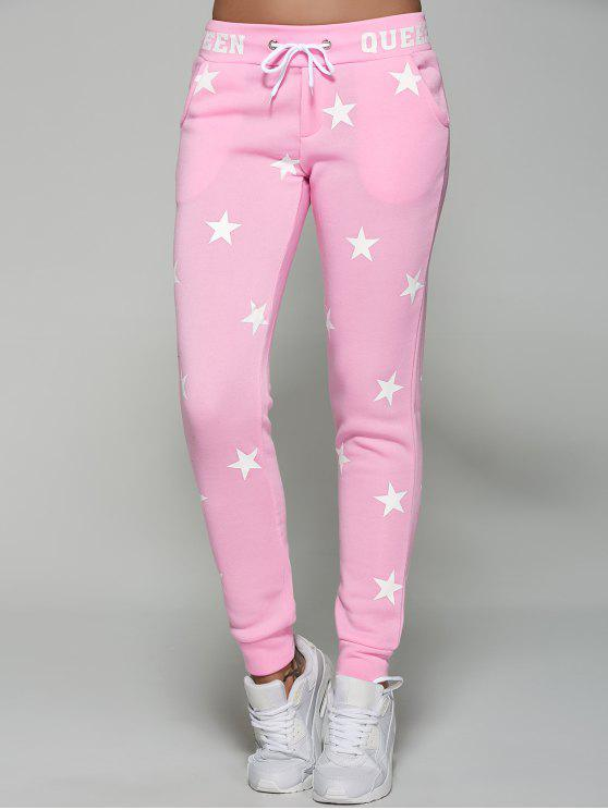 chic Star Print Sporty Pants - PINK M