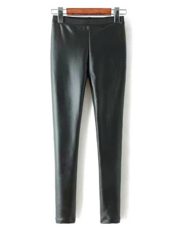 sale Faux Leather Fleece Pants - BLACK S