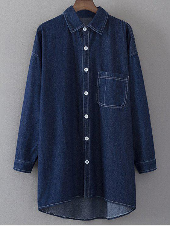 fancy Denim Long Sleeve Shirt Dress - BLUE M