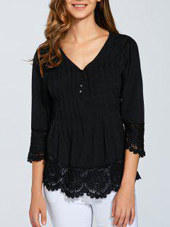 Scalloped Lace Splicing Blouse - Black L