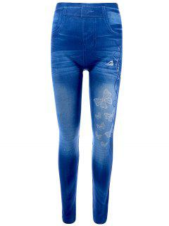 Butterfly Print Skinny Jeggings Faux Jean Leggings - Blue