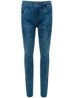 Skinny Jeggings Faux Jean Leggings - Blue