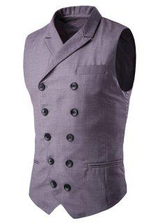 Lapel Collar Double Breasted Waistcoat - Gray M