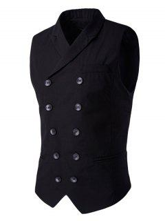 Lapel Collar Double Breasted Waistcoat - Black M