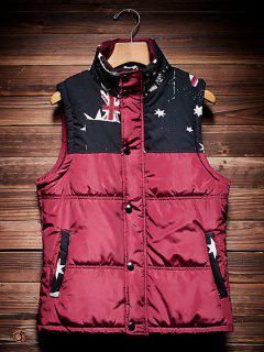 Stand Collar Printed Insert Quilted Waistcoat - Wine Red 3xl