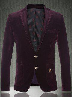 Embroidered Patch Pocket Single Breasted Corduroy Blazer - Purplish Red Xl