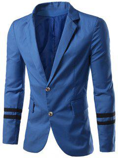 Slim-Fit Lapel Collar Varsity Stripe Blazer - Blue M