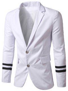 Slim-Fit Lapel Collar Varsity Stripe Blazer - White Xl